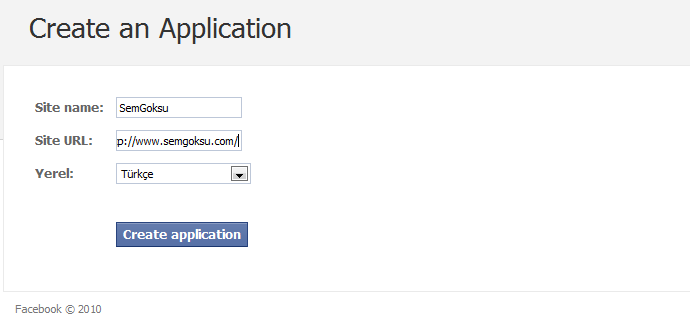Uygulama oluştuktan sonra facebook tarafından bize bir html kod